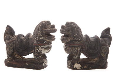 Pair Chinese Painted Terracotta Foo Dogs