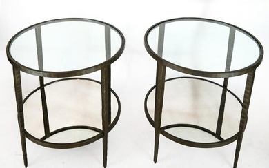 Pair Industrial Two-Tier Iron Tables