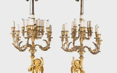 Pair Ormolu Gilt-Bronze And Marble Figural Candelabras