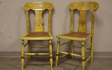 Pair of 19th century Mustard Painted Chairs