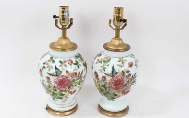 Pair of 19th century opaline glass vases converted to table lamps