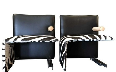 Pair of BB Italia Leather Hide Side Chairs
