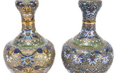 Pair of Chinese Cloisonne Garlic Head Floral Vases.