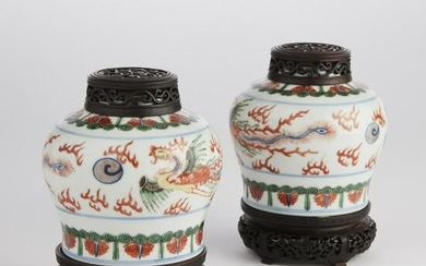 Pair of Chinese Ming style glazed porcelain jars