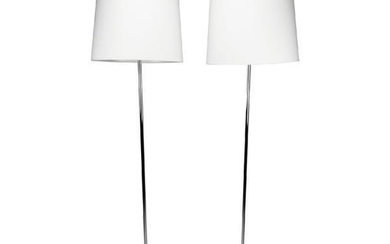 Pair of Chrome Floor Lamps with Teardrop Base