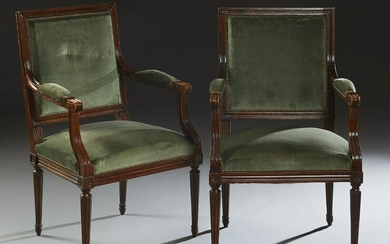 Pair of French Louis XVI Style Carved Beech Upholstered