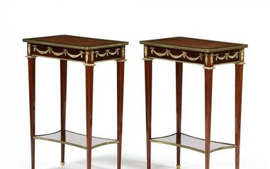 Pair of French Parquetry Inlaid One Drawer Side Tables