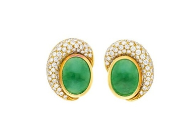 Pair of Gold, Jade and Diamond Earclips
