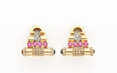 Pair of Gold, Ruby and Diamond Earrings