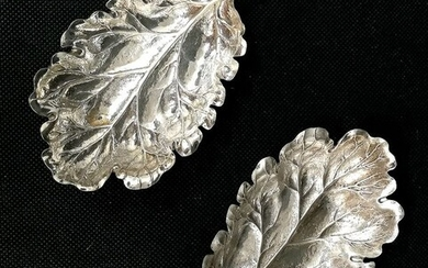 Pair of Leaves (2) - .925 silver - GIANMARIA BUCCELLATI - Italy - Mid 20th century