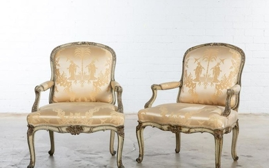 Pair of Louis XV style paint decorated fauteuils