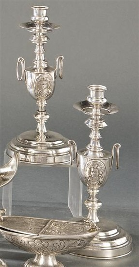 Pair of Spanish silver candlesticks punched with