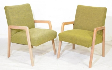 Pair of Vintage Russel Wright Style Lounge Armchairs