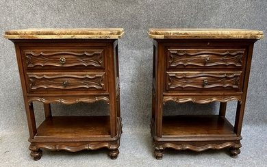 Pair of ceremonial furniture - Renaissance style - Marble, Walnut - Late 19th century