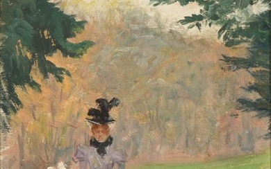 Paul Fischer: Mother and daughter strolling in the park. Signed Paul Fischer. Oil on canvas laid on cardboard. 30.5×20.5 cm.