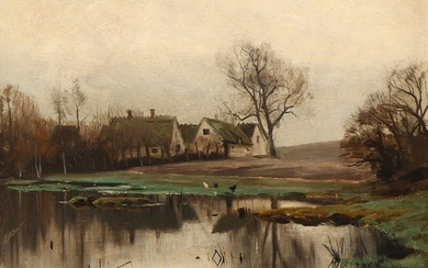 Peder Mønsted: A farm by a pond on a grey day. Signed and dated P. Mønsted 1901. Oil on canvas laid on cardboard. 25×34 cm.