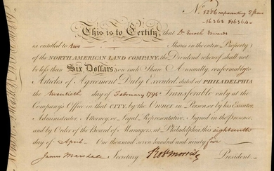 Philadelphia, Pennsylvania. February 20, 1795. Two Shares. North American Land Company. Extremely Fine.