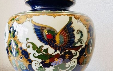 Plateelbakkerij Rozenburg - Juliana aardewerk - Rozenburg - Large earthenware bird vase 30 cm