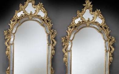 Pr. French giltwood mirrors,