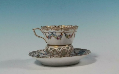 """RARE EARLY MEISSEN 3-1/2"""" CUP FINE SCALLPED TOP UNUSUAL"""