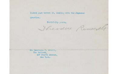 "ROOSEVELT, Theodore (1858-1919). Draft typescript signed as President (""Theodore Roosevelt""), with an 8-word emendation in Roosevelt's hand, to Lawrence F. Abbott. Washington, D. C., 16 February 1909."