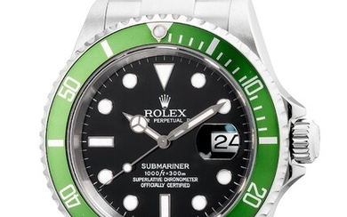Rolex, Ref. 16610LV A fine, well-preserved and rare stainless steel diver's wristwatch with date, center seconds, bracelet, guarantee and box