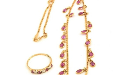 Ruby, Yellow Gold Jewelry Suite.