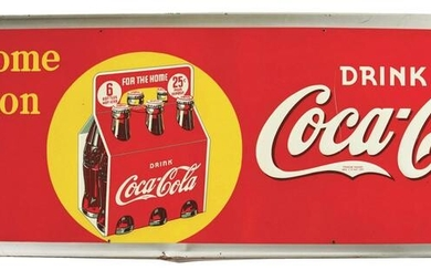 SELF FRAMED SINGLE-SIDED TIN COCA-COLA SIGN.