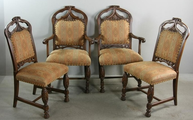 Set of (8) Early 20thC Spanish Style Dining Chairs