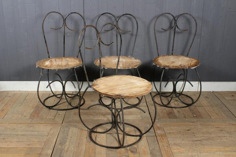 Set of Mid C. Modern Wrought Iron Garden Chairs