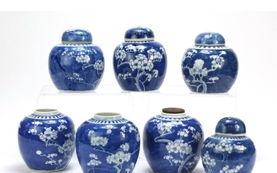 Seven Chinese blue and white prunus pattern porcelain ginger...