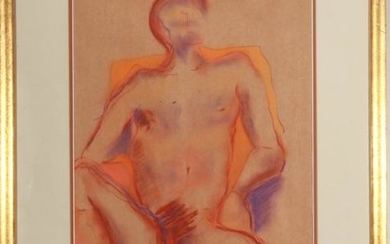 Signed Gold Contemporary Male Nude Pastel
