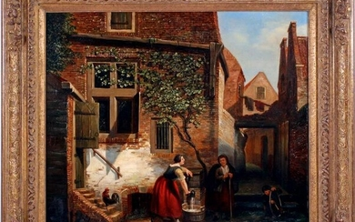 Signed M Savry, Scene in courtyard with woman