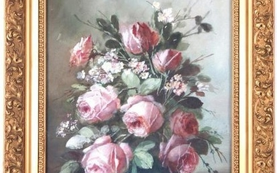 Signed de Jong, pot with roses, watercolor 51x34 cm