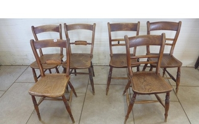 Six Victorian East Anglian ash and elm kitchen chairs, three...