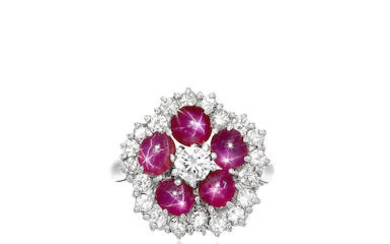 Star Ruby and Diamond Ring with GIA