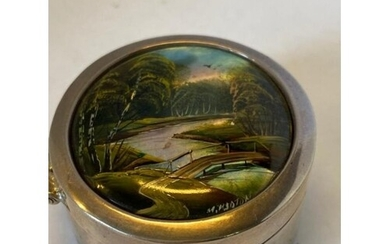 Sterling Silver Pill Box with Hand Painted Abalone Shell lid...