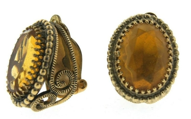 TIMELESS Whiting & Davis Co. Gold Plated & Yellow Stone