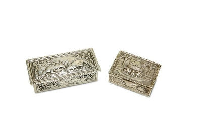 TWO CONTINENTAL SILVER BOXES, probably Italian