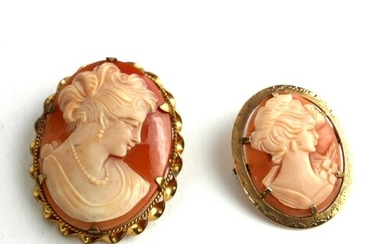 TWO EARLY/MID 20TH CENTURY SHELL CARVED CAMEOS IN 9CT GOLD M...