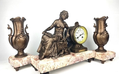Table Clock and Garnish - Japy Freres - Marble, Zamac - Late 19th century