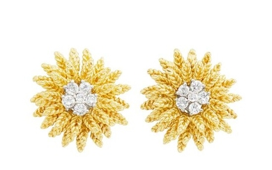 Tiffany & Co. Pair of Gold and Diamond Flower Earrings