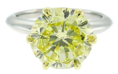 Tiffany & Co. Yellow Diamond Platinum RING 4.02-carat