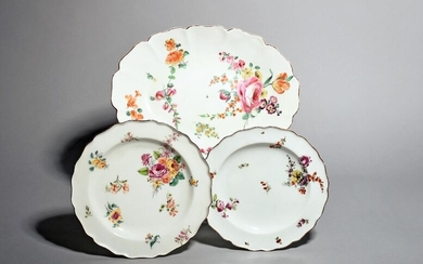 Two Chelsea plates and a dish c.1753-56, the...