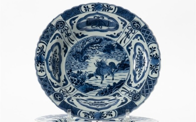 Two Chinese blue and white 'kraak'-style plates Each...