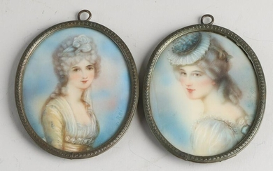 Two antique miniature paintings.&#160 Oval.&#160 With