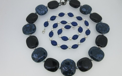 Two cultured pearl and blue hardstone necklaces,