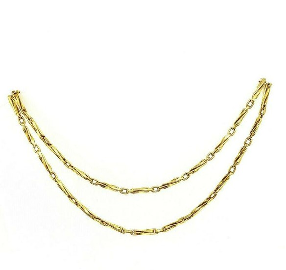 """VINTAGE 750 18K Yellow Gold Long Chain Necklace 32"""""""