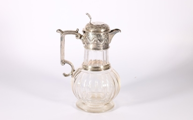 Victorian cut glass claret jug with silver mounts by W &...