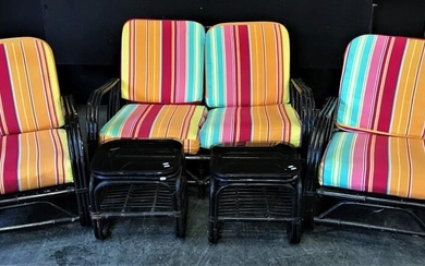 Vintage Painted 5 Piece Cane Lounge Suite inc 2 Seater, 2 Armchairs and 2 Glass Top Side Tables (82 x w:119 x d:97cm)